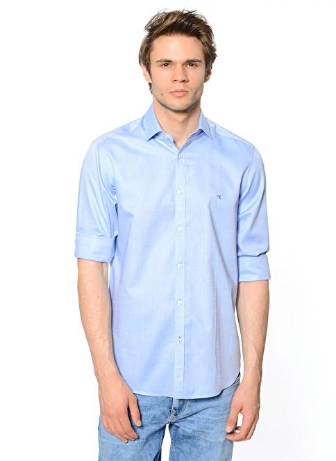 Kip Manşetli Uzun Kollu Gömlek Mavi